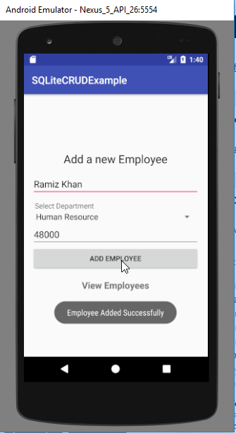android sqlite database example - create operation