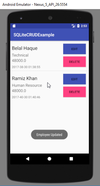 android sqlite database example - update operation