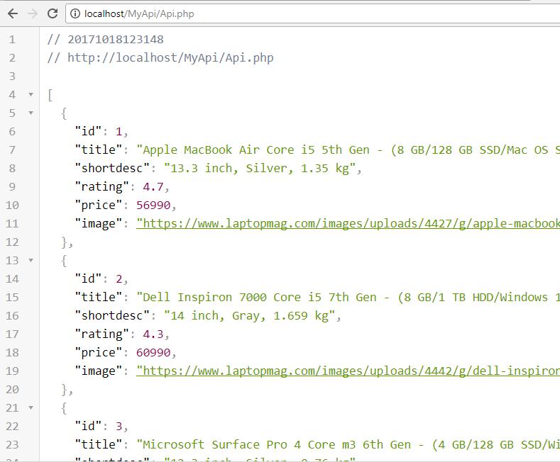 Data as JSON from MySQL