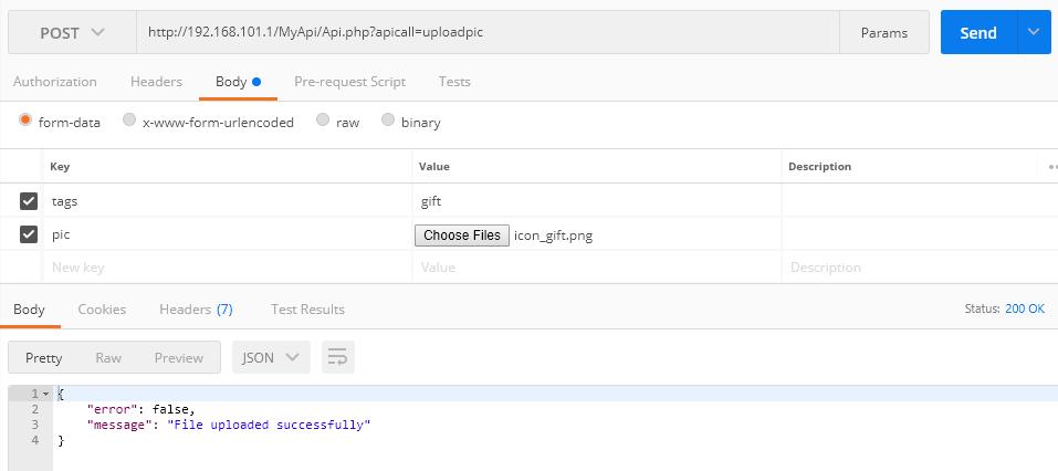 upload image to server api