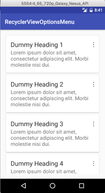 options menu for recyclerview