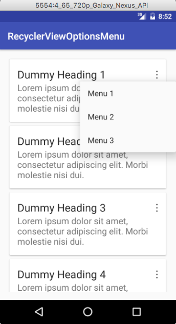 options menu for recyclerview item