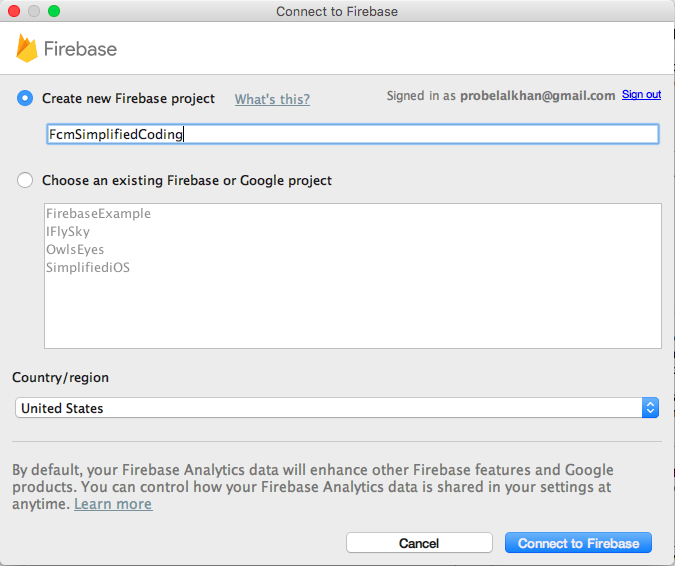 connect to firebase project
