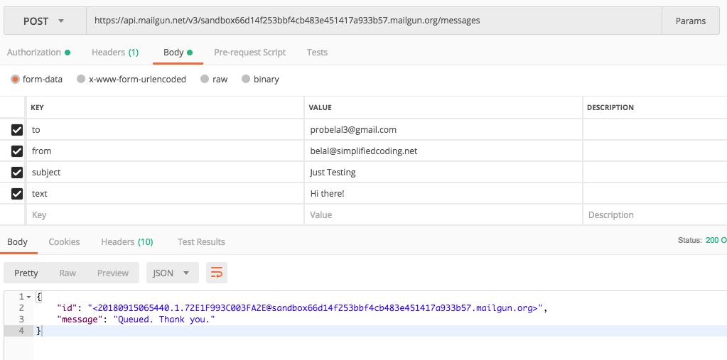 Sending Email Mailgun