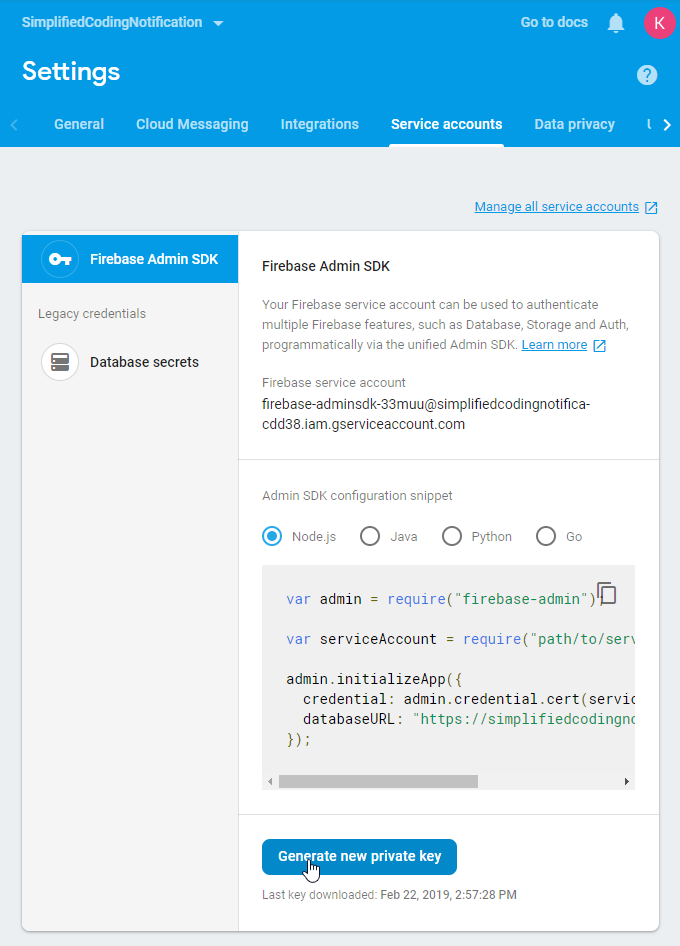 Firebase Service Accounts