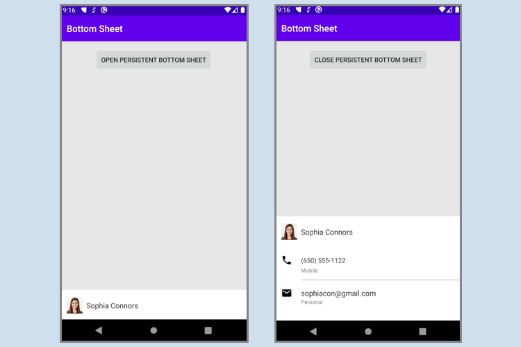 Persistent Bottom Sheet Android