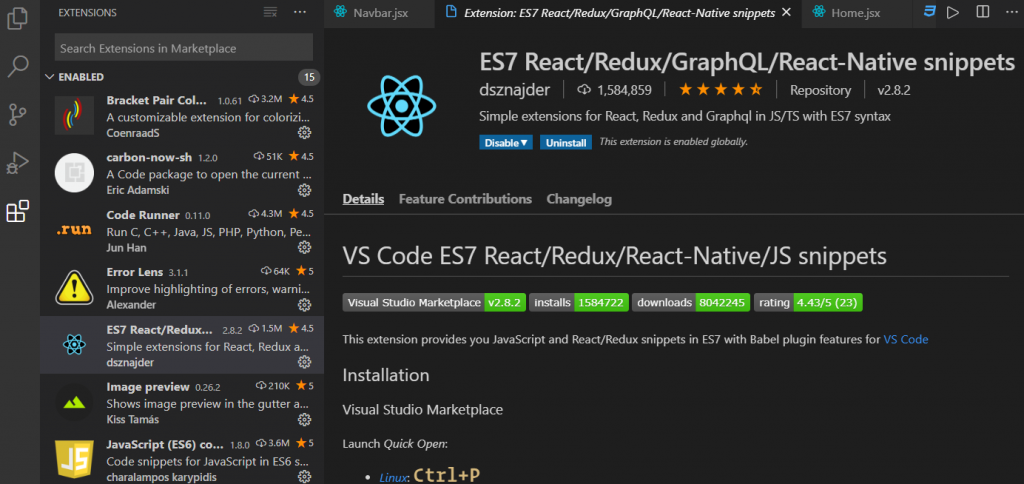 vs code react extension