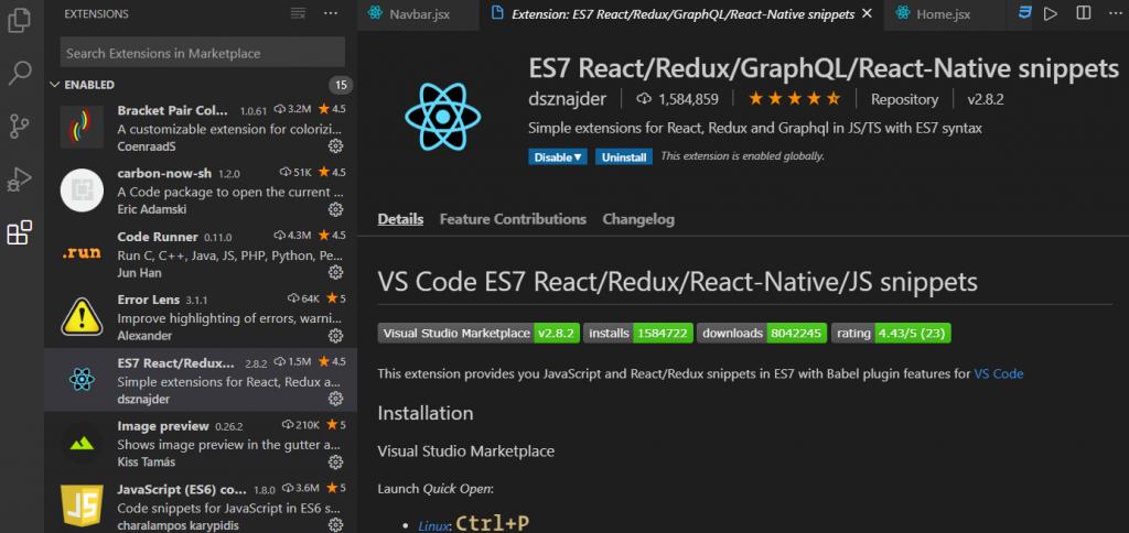 vs code react extension